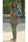 Green-skinny-jeans-rue21-jeans-blue-denim-jacket-unknown-jacket