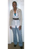 light blue BandolinoBlu jeans - white rue21 shirt - tan MaxRave jacket - dark br