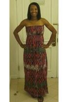 pink strapless rue21 dress - black gladiator sandals