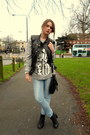 Black-vest-heather-gray-blouse