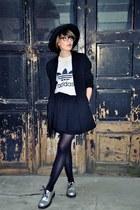 black asos hat - black vintage blazer - heather gray Adidas blouse