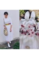 white new look boots - light pink vintage bag - white vintage skirt