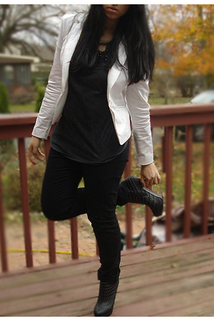 white H&M blazer - black shoes