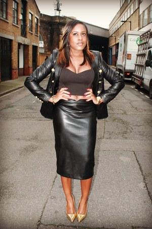black Missguided blazer - black Zara skirt - gold Zara heels