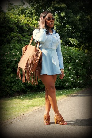 tan Forever 21 bag - light blue H&M shirt - light blue asos skirt