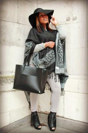 black Zara bag - heather gray Topshop jeans - black new look cape
