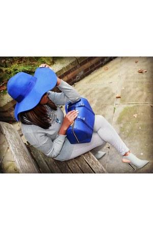 blue H&M hat - heather gray Topshop jeans - blue Zara bag