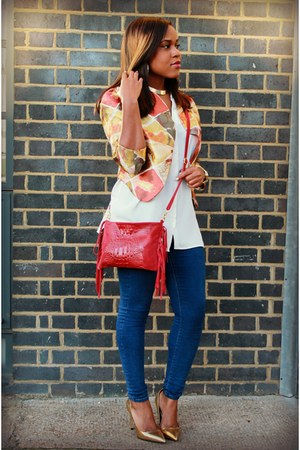 gold Boohoo jacket - blue Topshop jeans - cream H&M blouse - gold Zara heels