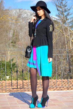 black Aldo shoes - turquoise blue BaBassu dress - black Chanel bag