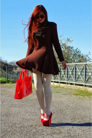 red emporio armani bag - dark brown vintage dress - red zeroUV sunglasses