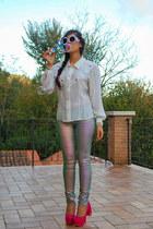 white vintage shirt - white zeroUV sunglasses - pink H&M pants