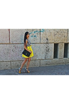 white milanoo sandals - Sheinside dress - black bag - yellow Chanel bag