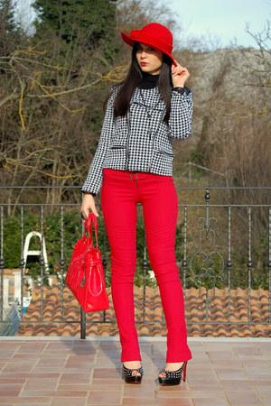 red armani bag - black blazer - red Pinko pants - black Louboutin heels