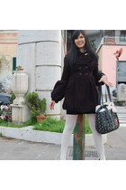 black and white shoes - black Fornarina coat - black denny rose jacket - white R
