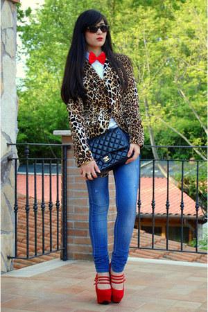 denny rose blazer - white Ralph Lauren shirt - black Chanel bag - red pumps