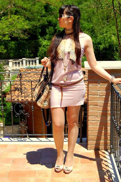 light pink OASAP dress - Burberry bag - roberto cavalli sunglasses