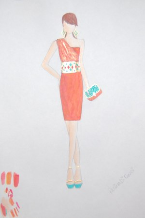 coral dress - coral turquoise and gold bag - gold with rhinestone belt - gold an