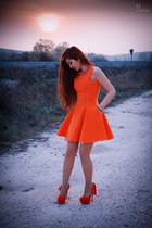 carrot orange Front Row Shop dress