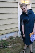 white thrifted bag - navy vintage cape - dark brown gladiator heels Fergie heels