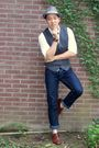 Brown-kenneth-cole-shoes-silver-h-m-hat-white-unionbay-shirt-blue-zara-jea