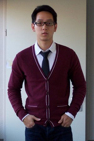 red we cardigan - black H&M tie - white calvin klein jeans shirt - blue Topman j