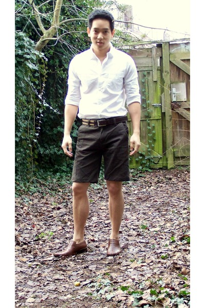 white calvin klein jeans shirt - brown Zara belt - brown H&M shorts - brown Tomm