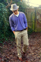 beige banana republic pants - brown Tommy Hilfiger shoes - blue Uniqlo blouse -
