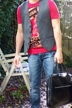 red Bershka t-shirt - gray we vest - blue Topshop jeans - black Royal Republiq p
