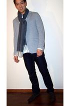 gray we blazer - gray Gant scarf - brown boss orange shoes - white H&M shirt