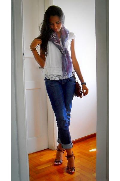 light purple floral scarf - brown amazing c&a shoes - navy half boyfriend  jeans