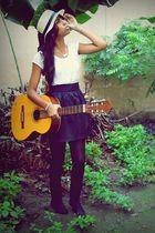 silver DealExtreme necklace - white JpStyle4u blouse - black skirt - black trifi