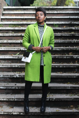chartreuse Topshop coat - black Cheap Monday boots - white H&M bag