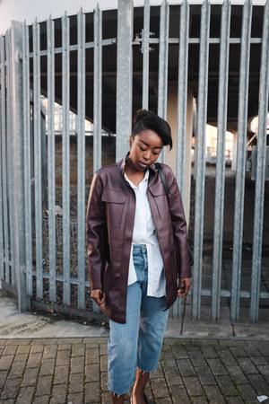 black faux leather Zara bag - blue boyfriend fit asos jeans