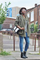 army green oversized free people jacket - black heeled Monki boots