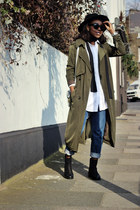 army green trench Boohoo jacket