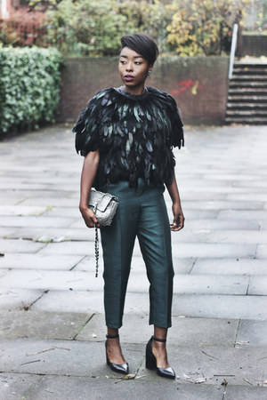 dark khaki sequins Topshop bag - forest green metallic Topshop pants