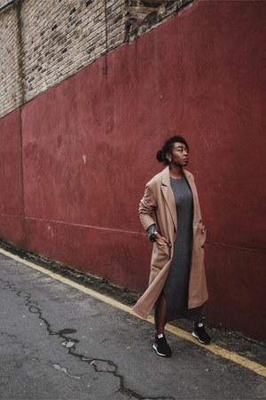 charcoal gray H&M Trend dress - light brown asos coat - black nike sneakers