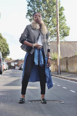 black skinny jeans Topshop jeans - gray bomber jacket Topshop jacket