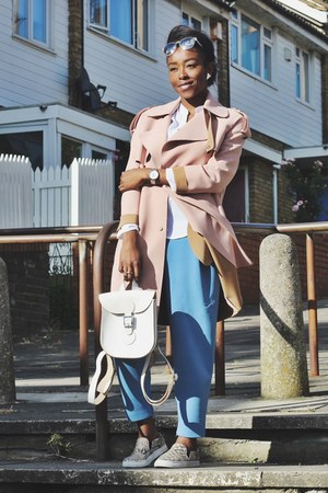 pink trench coat Topshop coat - white Brit Stitch bag
