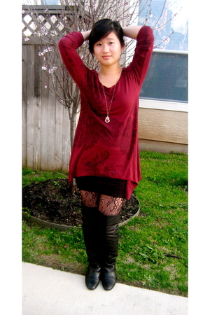 red Charlotte Russe blouse - black Dolce Vita boots - black free people skirt -