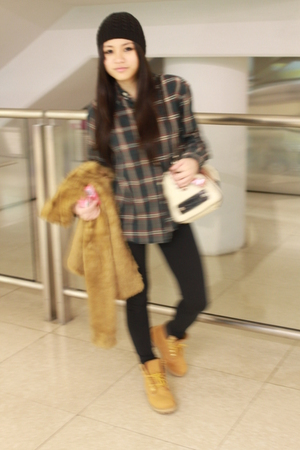 brown H&M coat - green shirt - beige Guess purse - brown Timberland boots - blac