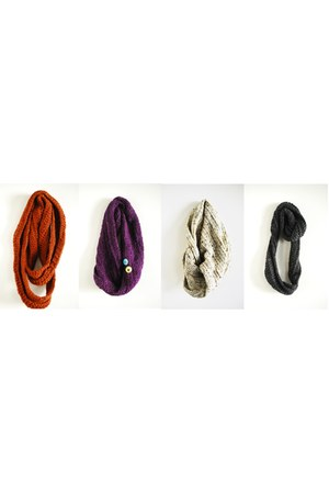 burnt orange scarf - purple scarf - beige scarf - dark gray scarf