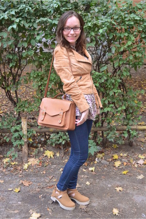 burnt orange F&F bag - bronze boots - blue Vero Moda jeans