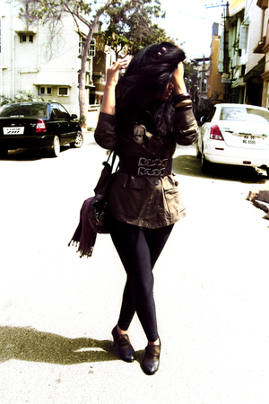 green Ralph Lauren jacket - brown belt - black leggings - purple scarf - gold sh