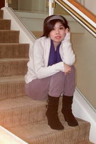 white H&M cardigan - blue H&M sweater - black Old Navy pants - Michael Kors boot