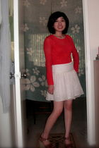 orange free people sweater - white Alice  Olivia skirt - brown Michael Kors shoe