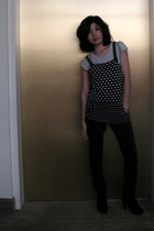 gray H&M shirt - black Blu Chic top - gray BDG pants - black me too boots