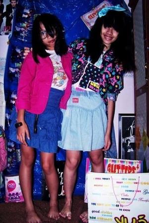 Psychonerdy blazer - Noin Brand t-shirt - Denim Skirt skirt - pink Contempo blaz