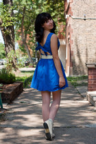 ivory ankle lace up thrifted vintage boots - blue keyhole Topshop dress