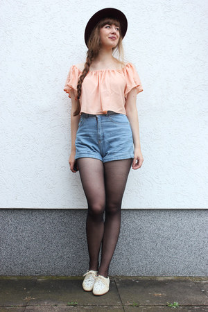 light pink JollyChic blouse - sky blue American Apparel shorts